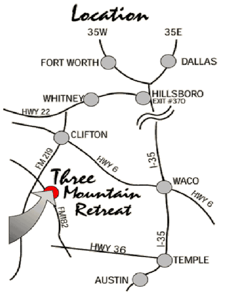 Three Mountain Retreat Is At The Intersection Of Fm 219 And 182 About 40 Miles West Waco 90 Southwest Dallas Fort Worth